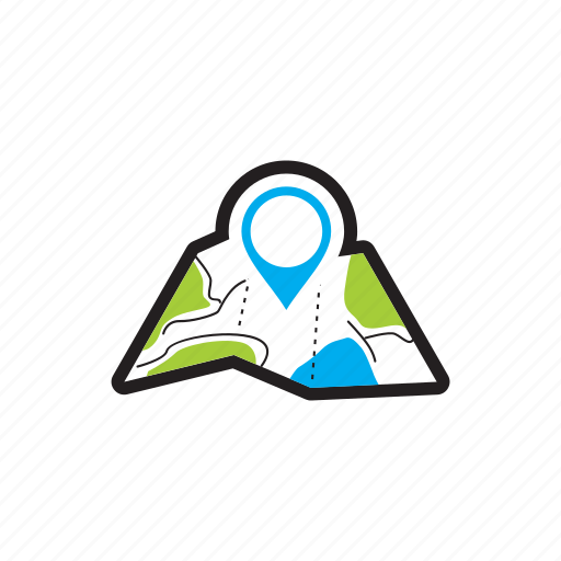 destination, lost, map, mark, road, travel, traveling icon