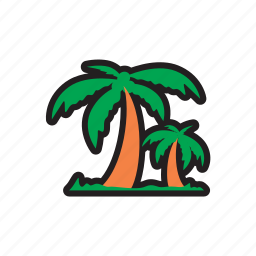 beach, coconut tree, travel icon
