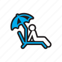 beach, relax, sunbathe, travel, umbrella icon