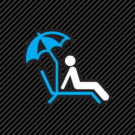 beach, relax, sunbathe, travel, umbrella icon