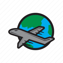 earth, flight, international, plane, travel, world icon