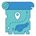 adventure, map, mark, pointer, travel, treasure, vacation icon