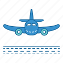 airplane, airport, arriving, plane, transportation, travel, vehicle icon