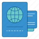 document, files, holiday, journal, passport, travel, vacation icon