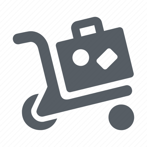 airport, cart, luggage, suitcase, trolley, vacation icon