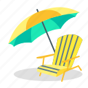 beach, recliner, seaside, summer, sunshade, umbrella, vacation icon