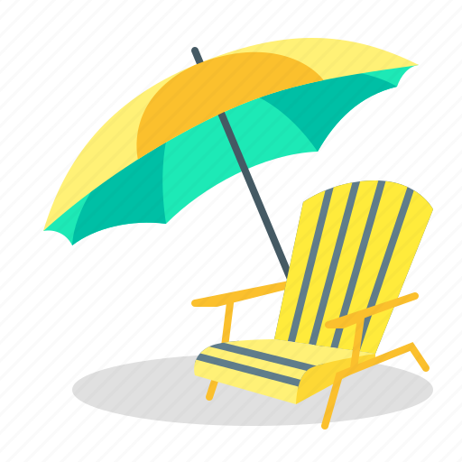 beach, recliner, seaside, summer, sunshade, umbrella, vacation icon