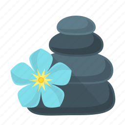 flower, health, relaxation, spa, stones, treatment icon