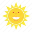 face, heat, smile, sun, weather icon