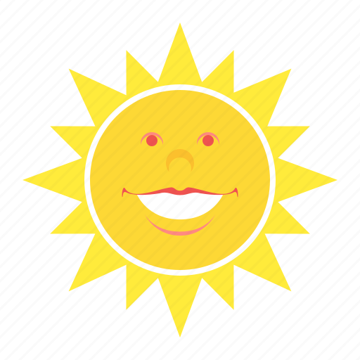 face, heat, smile, sun, weather icon