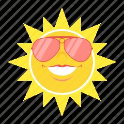 glasses, heat, hot, sun, sunglasses, temperature, weather icon