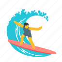 ocean, recreation, sport, sports, surfing, wave icon