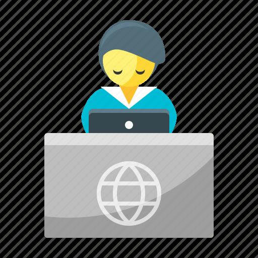Registration, hotel, motel, reception, receptionist icon - Download on Iconfinder