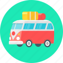 bus, camper, camping, travel, luggage icon