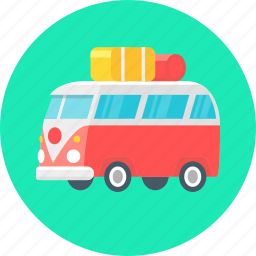 bus, camper, camping, luggage, travel icon