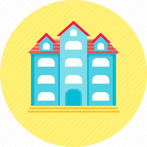 apartments, building, hostel, hotel, travel icon