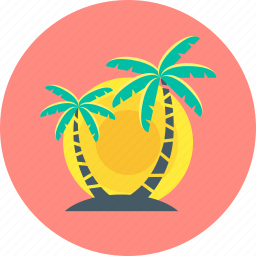 beach, palm, summer, sunset, trees icon
