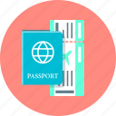 flight, international passport, passport, ticket, travel icon