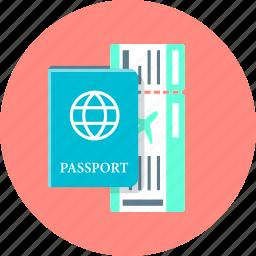flight, international passport, passport, ticket, travel icon