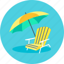 parasol, recliner, summer, sunshade, umbrella icon
