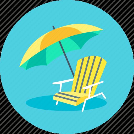 parasol, recliner, summer, sunshade, umbrella icon