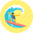board, extreme, sport, surfboard, surfer, surfing icon