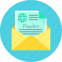envelope, gift, letter, travel, vacation, voucher icon