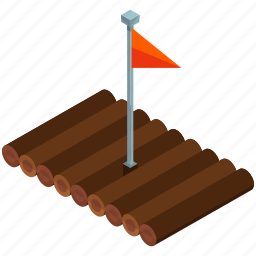 camp, camping, flag, outdoor, raft, travel icon