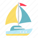 boat, nautical, ocean, sailboat, tourism, travel, yacht icon