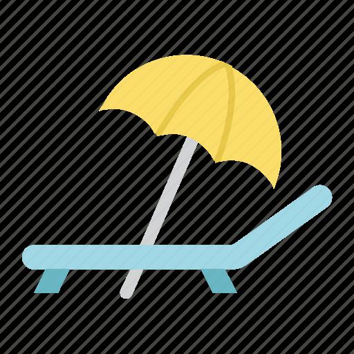 beach, deckchair, rest, sun, tourism, travel, umbrella icon