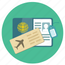 flight, fly, fun, holiday, id, pass, passport, tag, ticket, transportation, travel, vacation, visa icon