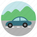 car, eco, fun, holiday, montain, ride, ride sharing, road, road trip, round, transportation, travel, vacation, view icon