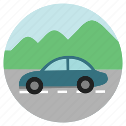 car, eco, fun, holiday, montain, ride, ride sharing, road, road trip, round, transportation, travel, vacation icon