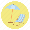 beach, chair, fun, happy, holiday, relax, sea, tan, transportation, travel, umbrella, vacation icon