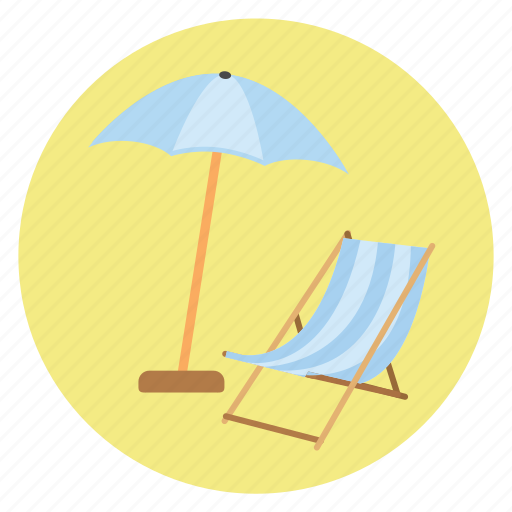 beach, chair, fun, happy, holiday, relax, sea, tan, transportation, travel, umbrella, vacation icon