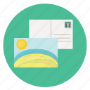 card, fun, happy, holiday, mail, post, post card, send, sunny, transportation, travel, vacation icon