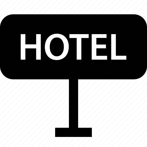 checkin, hotel, in, road, sign icon