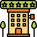hotel, relaxation, star, tourist, travel, vacation icon