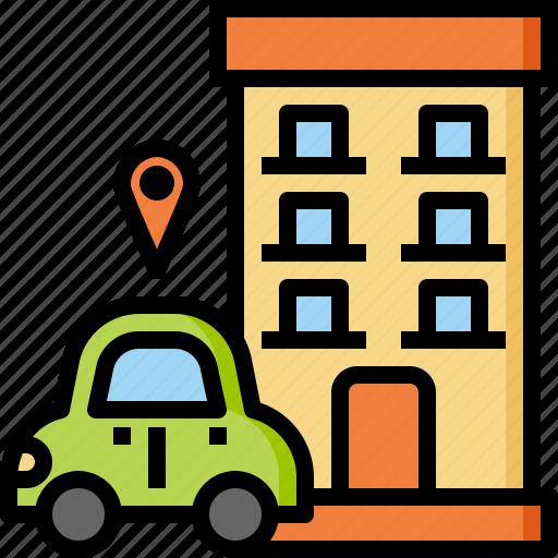 car, gps, hotel, location, map, travel, vacation icon