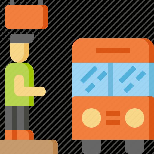bus, rail, railroad, stop, transportation, travel, vehicle icon