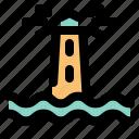 light house, sea, boat