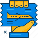 airplane, blue, flight, hand, orange, ticket, travel icon