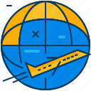 airplane, blue, flight, orange, travel, world icon