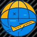 airplane, blue, flight, orange, travel, world