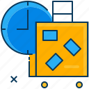 bagage, blue, clock, orange, time, travel icon