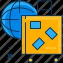 baggage, blue, globe, orange, travel, world icon