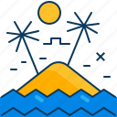 beach, island, ocean, palm, sea, sun, tree icon