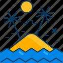 beach, island, ocean, palm, sea, sun, tree