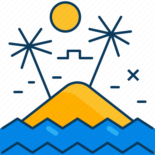 Beach, island, ocean, palm, sea, sun, tree icon - Download on Iconfinder