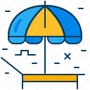 beach, blue, deckchair, orange, tent, travel, umbrella icon